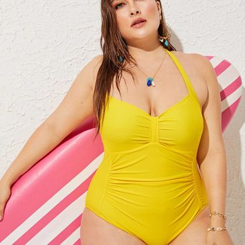 Plus Ruched Low Back Halter One Piece Swimsuit