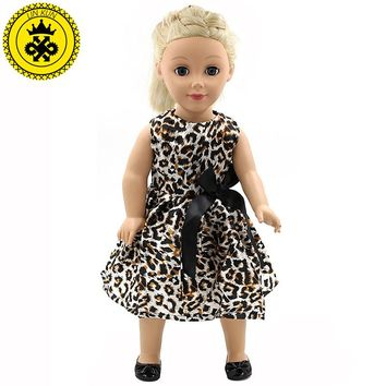 Handmade Multicolor Printing Princess Dress Doll Clothes for 18 inch Dolls American Girl Doll Clothes Accessories 15 Colors D-11