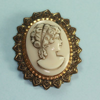 Molded Cameo Brooch Ivory Color Vintage West Germany