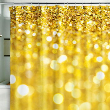 Bath Shower Curtain bling glitter sparks shimmer gold