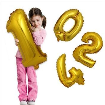 32inch Foil Number Gold Silver Balloon Big Wedding Happy Birthday 2017 New Year Party Helium Balloons Decoration Giant Digital