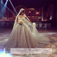 Cathedral Train Lace Appliques Beaded Crystals Wedding Dress