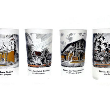 California Mission Drinking Glasses, Highball, Retro Tumblers, Frosted