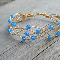 Blue and Gold Bangle Bracelet,  Blue Bangle, Bracelet with Beads, Gold Bracelets for Women, Milky Blue Sapphire Bracelet, Braided Bangle