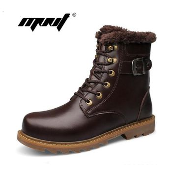 Full genuine leather men boots top quality cow leather winter shoes Handmade super warm men ankle boots non-slip men snow boots