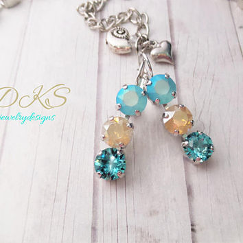 Cape May, Swarovski 8mm Triple Stone Earrings, Bridal, Beach Wedding, Lever backs, DKSJewelrydesigns, FREE SHIPPING