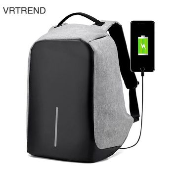VRTREND USB Charge Anti Theft Backpack Men Travel Security Waterproof School Bags