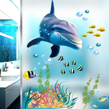 Cartoon Waterproof Bathroom Kitchen Wall Stickers Ocean Underwater Home Decor Window Sticker Dolphin Fish Decals Mural Kids Room
