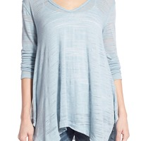 Caslon® V-Neck Shark Bite Hem Knit Top | Nordstrom
