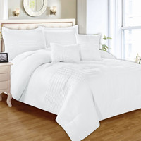 "Kate Queen Size Five Piece Pintuck Comforter Set (90"" x 92"") - White"