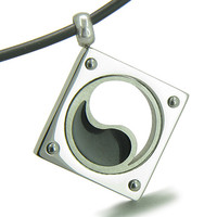 Amulet Yin Yang Balance Powers Steel Lucky Charm Leather Pendant Necklace