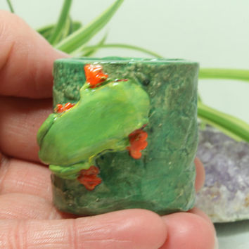 Tree Frog Mini planter for Air Plants succulents and moss