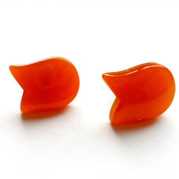 Orange Tulip Thermoset Piece Earrings Pierced Post Back Pin Up Retro Vintage Style Upcycled Jewelry Unique Gift