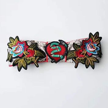 GUCCI Embroidery Flower Snake Headwrap Headband Head Hair Band