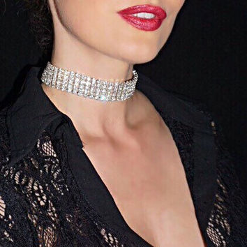 Emma Choker. 5 Rows of Very Sparkly Genuine Austrian Swarovski Crystals.  Sexy Trendy Choker. Bridal Choker.