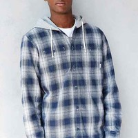 Vans Flannel Hooded Shirt- Navy