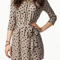 Mod Tan and Black Polka Dot Dress