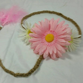 Hippie Daisy Braided Twine Headband/Pink and White Daisy Flower Headband/Braided Jute Headband/Pink Feather Headband/Coachella Boho Headband