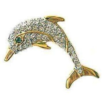 24k Gold-Plated Swarovski Crystal Dolphin Brooch/Pin (1/2 inch x 1 1/2 inches) (Boxed)