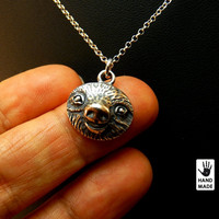 SLOTH - sterling silver handmade oxidized necklace - promotional price :), gift ideas, holidays