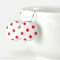 Red and White Polka Dots - Silver Toned Leverback Earrings Red White Classic Shabby Cottage Chic Fabric Covered Buttons Spring Jewelry