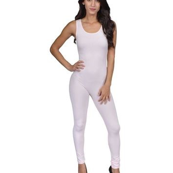 A pull-on style jumpsuit crafted in a stretch knit fabric featuring a sleeveless cut, scoop neck and racer-back, a form-fitting silhouette