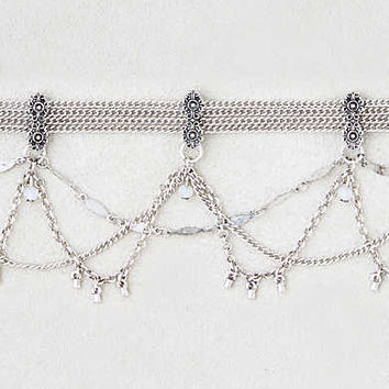 AEO Mixed Chain Draped Choker, Silver