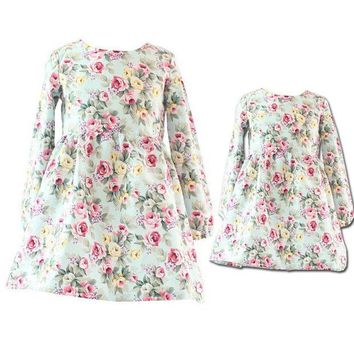 CREYL Spring/Autumn Mother Daughter Dresses Casual Floral Printed Mother and Girls Dresses Family Look Long Sleeve Dresses For Girls