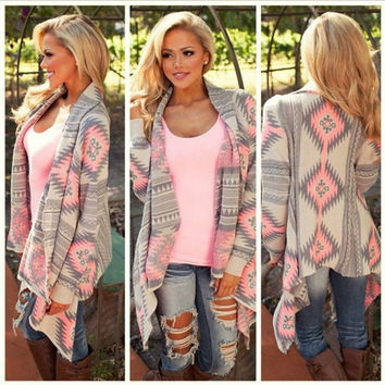 Irregular long-sleeved sweater cardigan