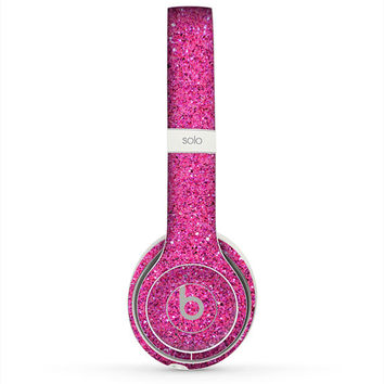 The Pink Sparkly Glitter Ultra Metallic Skin for the Beats by Dre Headphones (All Versions Available)