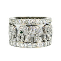 Cartier Paris Emerald Diamond White Gold Elephant Ring