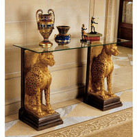 Royal Egyptian Cheetahs Sculptural Glass-Topped Console - KY559534 - Design Toscano