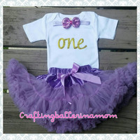 One Birthday Gold Purple Onesuit - First Birthday Gold Glitter Outfit - One - Baby Girl First Birthday - Second Birthday - Gold Lavender