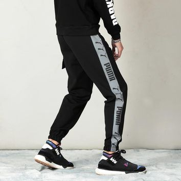 """""""Puma"""" Unisex Casual Letter Print Pocket Sweatpants Tencel Couple Thickened Leisure Pants Trousers"""
