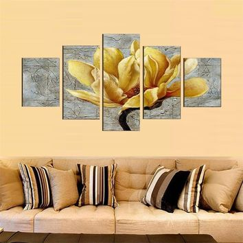 Fashion Home Unframed Abstract Painting 4 Panel Gold Flower Modern Print Painting Wall Art Gift Top Home Decoration