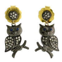 Pave Diamond Sapphire 14kt Gold Silver Owl Design Dangle Earrings