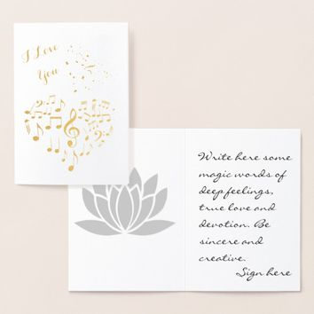 I Love You Golden Heart one-of-a-kind funny Foil Card