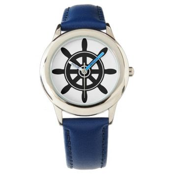 Nautical Ship Wheel on Gray Stripes Wrist Watches