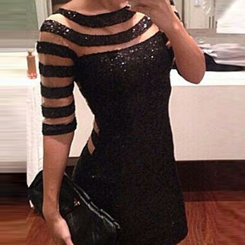 Black Sequined Strappy Cut-Out Mini Bodycon Dress