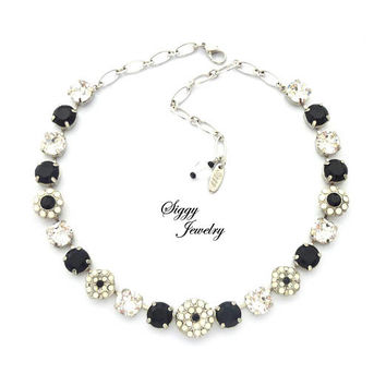 Swarovksi Crystal And Black Chaton Statement Necklace, Flower Embellished, 11mm (47ss), Rhodium Finish, Checkerboard Sparkle, Gift Packaged