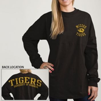 The Mizzou Store - Mizzou Tiger Head Black Long Sleeve Crew Neck Heavyweight T-Shirt