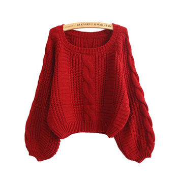 Winter Knit Tops Crop Top Twisted Lights Thicken Sweater [9609410639]