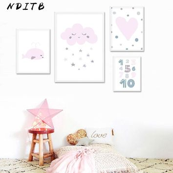 Wall Art Canvas Painting Nursery Smile Cloud Cartoon Posters and Prints Nordic Kids Decoration Picture Baby Girl Bedroom Decor