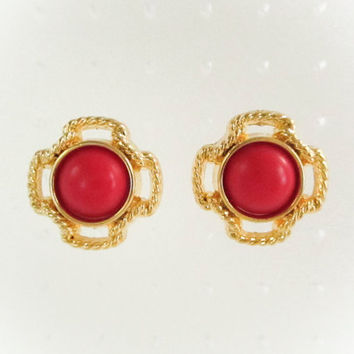 Vintage Red Rope Frame Earrings ,Gold Cross Earrings, Vintage earrings, Valentines Day, Bridesmaid Earrings,  Large Earrings