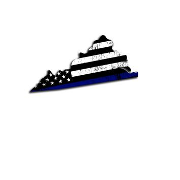 Virginia Island Distressed Subdued US Flag Thin Blue Line/Thin Red Line/Thin Green Line Sticker. Support Police/Firefighters/Military