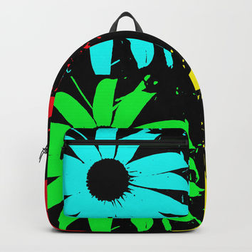 Pop Art Of Flowers Backpack by Vincent Vicari
