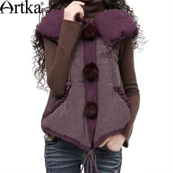 Artka Women Sleeveless Jacket Coat 2018 Autumn Outerwear With Hood Vintage Puffer Jacket With Pom Pom Winter Outerwear  WA10123D