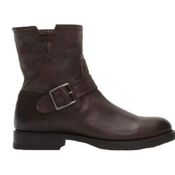 DCCKAB3 Frye Natalie Short Engineer Charcoal Boots