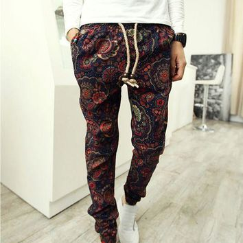 Men Drawstring Floral Joggers Hawaii beach pants Indian Pattern Dancing Sweatpants pantalones hombre Hip Hop Harem Pants 70205