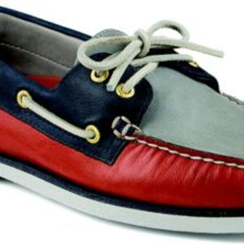 Sperry Top-Sider Gold Cup Authentic Original 2-Eye Boat Shoe Red/Navy/Gray, Size 11M  Men's Shoes